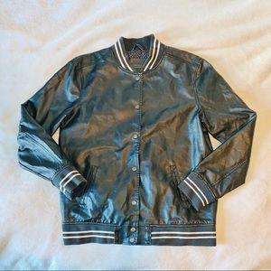 Faux Leather Baseball Jacket
